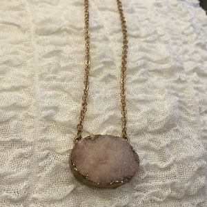 Jewelry - Pink Druzy stone necklace